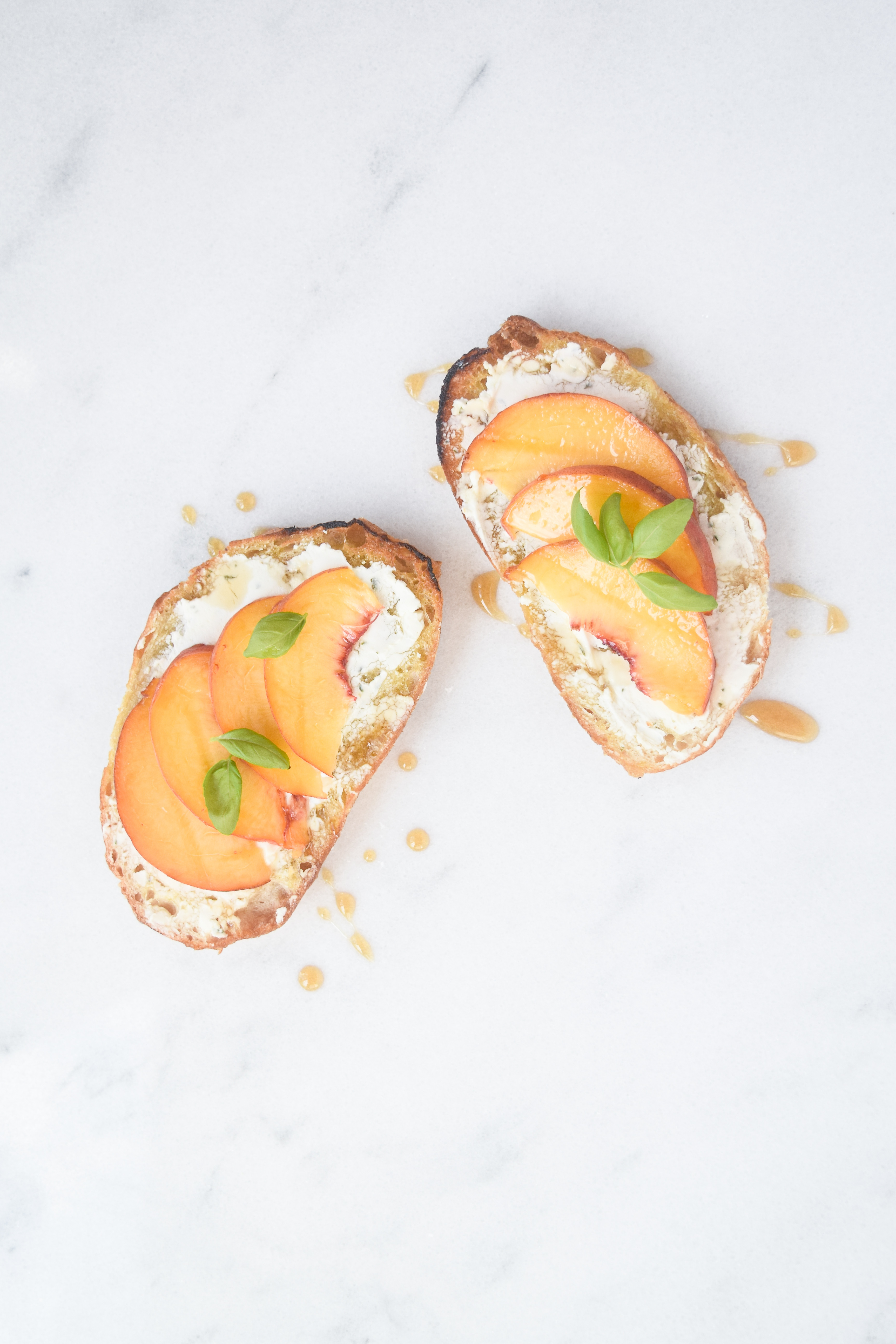 Peach Crostini w/ goat cheese + agave