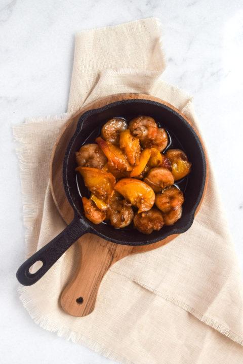 Caramelized Shrimp + Peaches Recipe