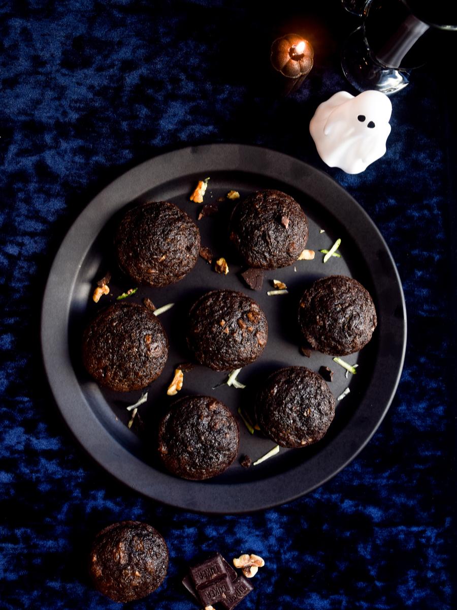 Dark Chocolate Zucchini Bread Muffins w/ Walnuts
