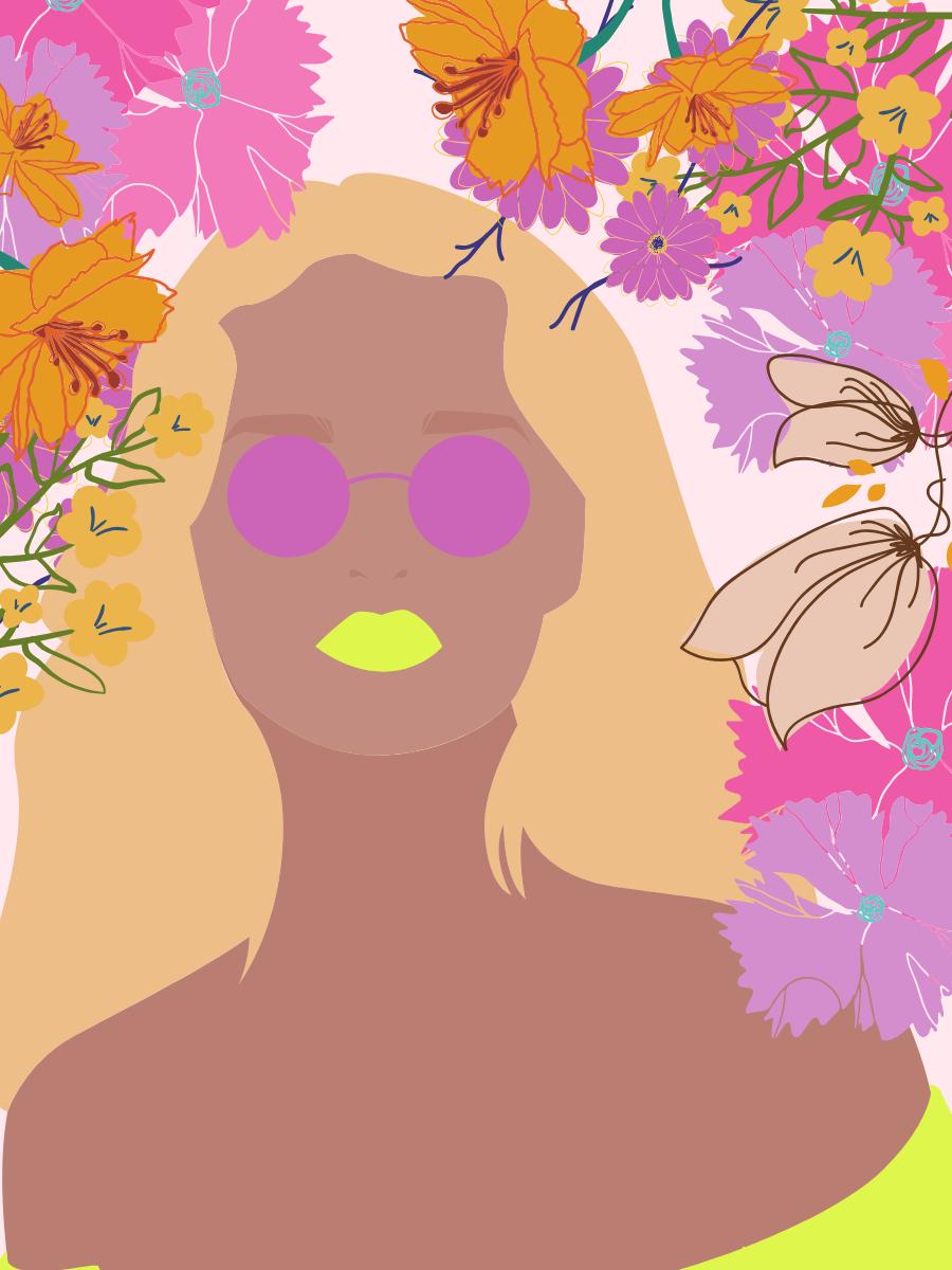 Flower Power Females Illustration Graphics